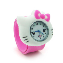candy color cute Hello Kitty Slap Watch Girls Cartoon kids Watch Silicone Rubber Wrist Watch Children Cristmas gift