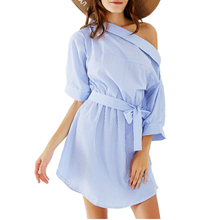 Simin Fashion one shoulder Blue striped women dress shirt Sexy side split Elegant half sleeve Dress Casual Loose Beach Dresses(China)