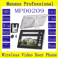 HighQuality Wireless Intercom System Three 7 Inch Display Screens+One Outdoor Camera,NightVision Video Door Phone Doorbell D209b