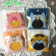 100pcs 7*7+3cm Love Owl Pink Pig Print Self-adhesive OPP DIY Cookie Packaging Bags for Candy Gift Package Plastic Bags B157(China)