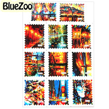 BlueZoo 11 Designs Vintage Ink Painting Decorative Stickers Nail Art Decor Water Transfer Postage Stamp Decal Nail Accessories