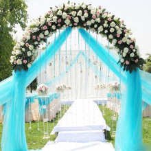 Hot Sale 0.72*50M Sheer Mirror Organza Roll Wedding Chair Sash Bow Table Runner Swag Crystal Organza Fabric 18 Colors for Choose