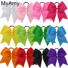 MyAmy 24pcs/lot 7.5 Inch Hair Bows Boutique Elastic Ties Cheerleading Cheer Bow Grosgrain Ribbon Bow Hair Accessories(China)