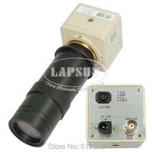 "420 TVL 1/3"" CCD Digital Industry Microscope Camera + Lens Set CS & C-Mount Lens Support BNC Color Video Output F PCB Soldering"