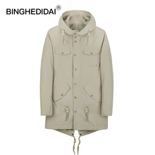 BINGHEDIDAI Windbreaker Men's Clothing Long Jacket leisure Spring And Autumn Thin Boutique  Men's Windbreaker Brand Clothing
