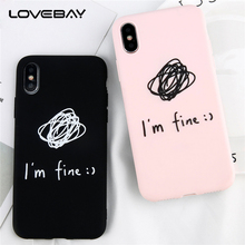 Lovebay Cartoon Clew For iPhone 6 6s 7 8 Plus X Phone Case Fashion Letter i am fine Soft TPU Full Cover Phone Case For iPhone 6(China)