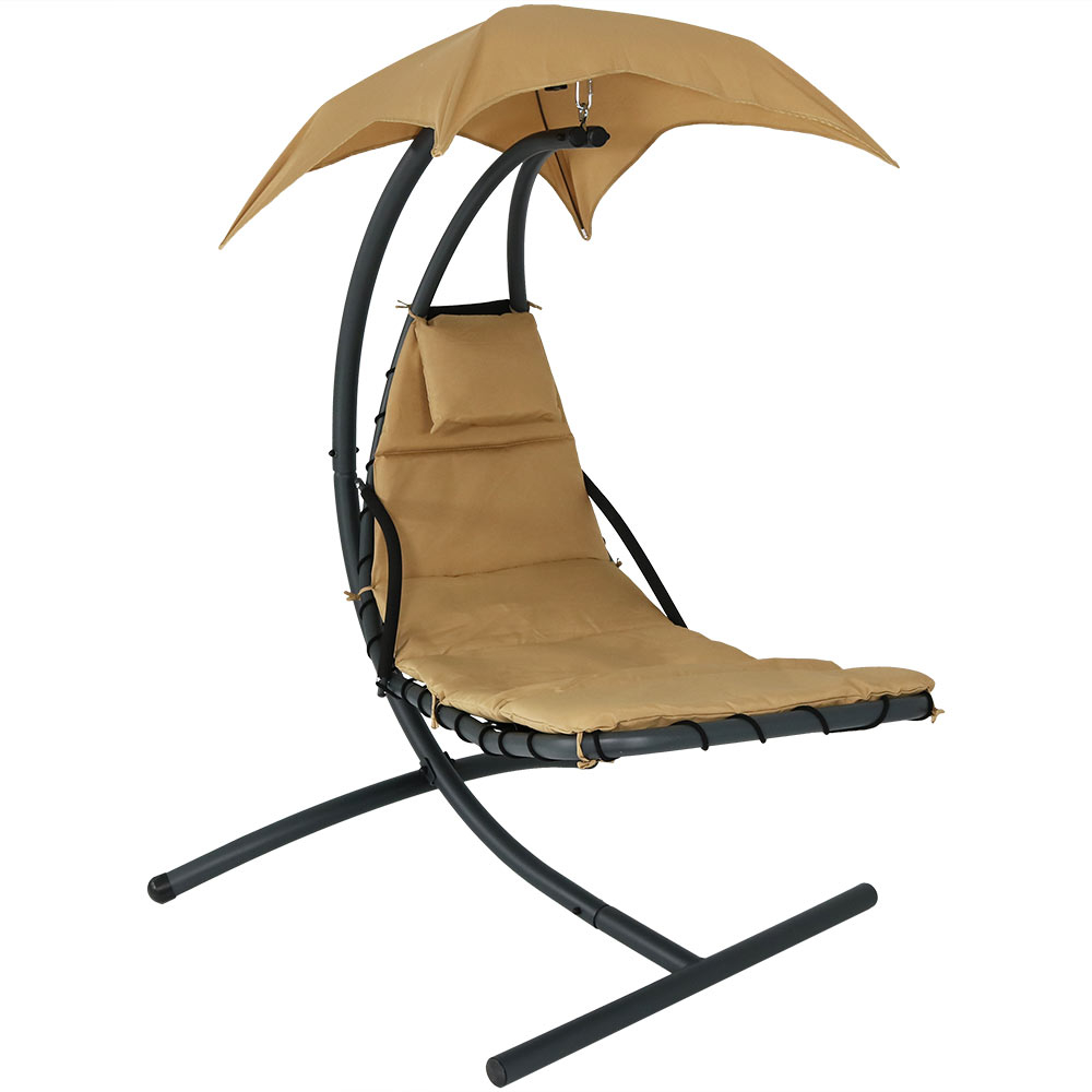 Sunnydaze Floating Chaise Lounger Swing Chair with Canopy, 79 Inch Long, 260 Pound Capacity (5)