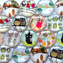 ZEROUP round glass cabochon owl mixed pattern fit cameo base setting for jewelry flatback 20pcs/lot TP-056-R