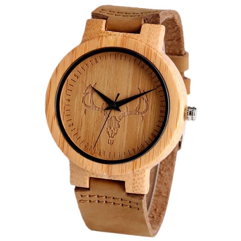 Luxury Cattle Head Pattern Men Bamboo Wood Watches Women Quartz Clock Casual Leather Strap WristWatch Male Relogio<br><br>Aliexpress