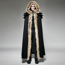 Gothic Punk Fall Winter Long Wool Collar Cloak Coat Men Vintage Long Trench Capes Warm Overcoats with Hooded(China)