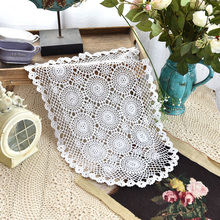 Handmade Cotton Crochet tablecloths white flowers Table cloths towel doilies lace Table Cover placemat for home wedding decor