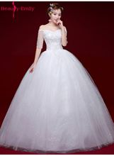 Buy Beauty Emily White Long Cheap Wedding Dresses 2017 Ball Gown Half Sleeve White New Design Bridal Gowns Vestidos de noiva for $54.66 in AliExpress store