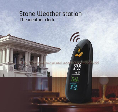Cobblestone RF Remote Weather Station Wireless Weather Forecast Clock Calendar Thermometer Hygrometer Meter &amp; DHL Free Shipping<br>