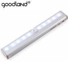 Goodland LED Night Light IR Infrared Motion Sensor Night Light 10 LEDs Wireless LED Closet Lights 4* AAA Battery Wardrobe Lights(China)