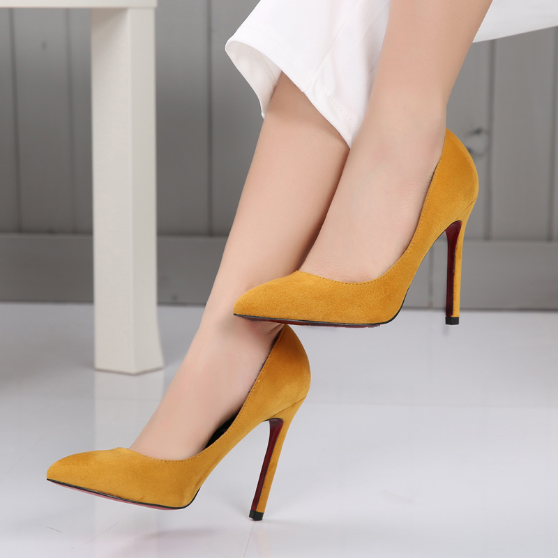 Plus Small Big size 34 42 Women Work Shoes High Heels Yellow Black Jelly Color Flock Pointed toe High Heels for Women Pumps<br><br>Aliexpress