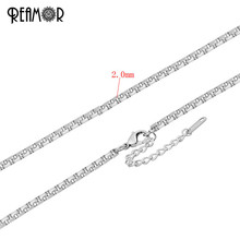 REAMOR 316l Stainless Steel Box Link Chain Necklace With Lobster Clasp Extended Chain Fit Women Party Fashion Jewelry Making DIY