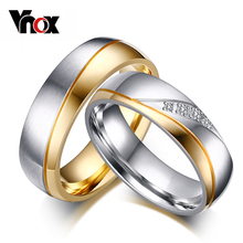 Vnox 10pcs/lots Wholesale Wedding Rings for Couples Classic Stainless Steel Jewelry Provide Mix Size(China)