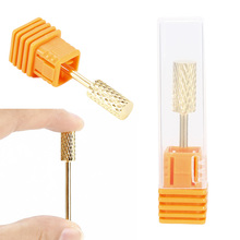 1pcs nail art salon tools gold color nail drill bit mill file for nail art electric drill manicure machine Accessories