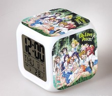 Anime Love Live Action Figure Alarm Clock With Colors Glowing Despertador LED Digital Clocks School Idol Project Kids Toys Doll