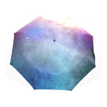 Cool Starry Sky Umbrella Colorful Star Sky Anti UV Automatic Sun Rain Umbrella Three Folding Portable Children Umbrella