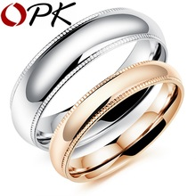 OPK Romantic Couple Rings Free Customized Engraved Name Engagement Stainless Steel High Polish Bright Lover's Jewelry , GJ504