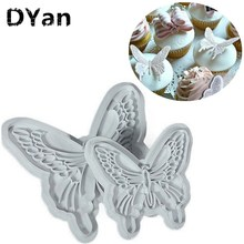 Cake Baking DIY Tools 2pcs/Set Fondant Butterfly Mold Cake Cutter Cookies Sugar Craft Decorating Tool A171