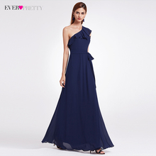 Bridesmaid Dress Ever Pretty Sexy One Shoulder Ruffles Oblique Neckline Floor-Length Unmovable Belt Wedding Guest Dress EP07211(China)
