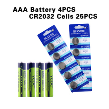 High Power AA-2000mAh AAA-1000mAh High Density Rechargeable Batteries 1.2V Ni-MH Cells+25Pcs CR2032 Cell Ni-MH watch battery(China)