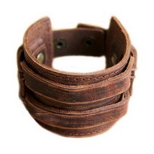 Men's Retro Leather Buckle Punk Cuff Bangle Wristband Bracelet Low price VB680 P(China)