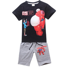 Smile Big White Hero Kids Clothing set Sports Outfits for boys Girls Jersey sets 2017 children age 3 4 5 6 7 8 9Years T Size(China)