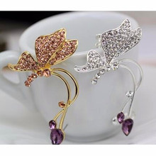 2017 new fashion personality exaggerated butterfly earrings without pierced ear clip free shipping large