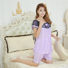 Sleepwear pajamas set new summer short sleeved pyjamas ladies loose Home Furnishing clothes silk female Luxurious nightwear(China)