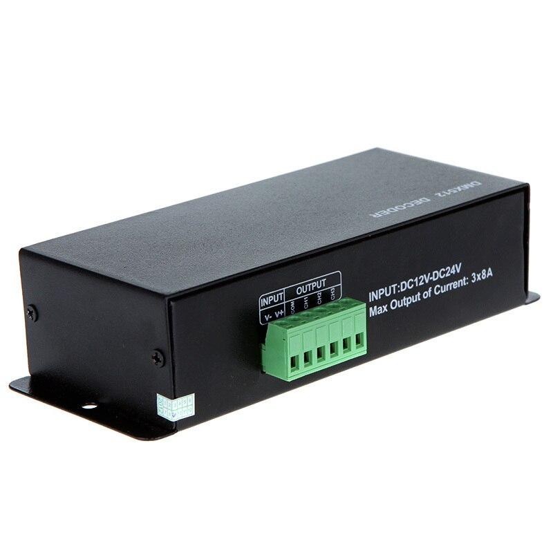 Led DMX controller DC 12V 24V 3CH X 8A DMX RGB Decorder Controller for RGB 5050 3528 2835 LED Strip Light<br><br>Aliexpress