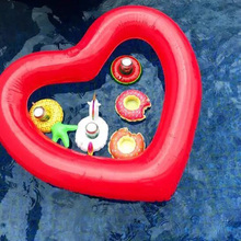120cm Giant Sweat Heart Swimming Ring Inflatable Swim Float For Kids Adult Water Circle Bed Boia Piscina Party Pool Toys(China)