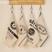 DUNXDECO 4PCS 30x40CM Vintage POP Black Print Linen Cotton Table Placemat Bar Coffee Store Napkin Kitchen Table Mats Photo Prop