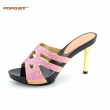 Pink sweet style elegant Wedding Shoes Woman Shoes without bag pumps graceful African Party Dinner Shoe possible match with bag(China)