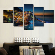 Top-Rated Large HD Canvas Print for Living Room 5 panel Mediterranean night Wall Art Picture/Photo Painting Artwork