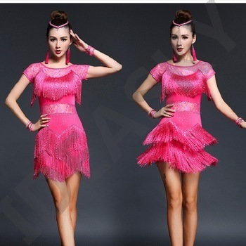 competition costumes for women clothes with fringes fringe dress cheap latin red salsa gold dance clothes sexy tang sequin adult