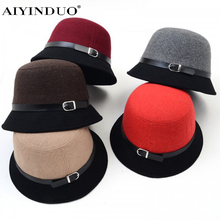 New High Quality Korean Style Vintage Bucket Hat Warm Fedoras Winter Women Hats Double Color Pathwork Wool Cap Top Hat With Welt