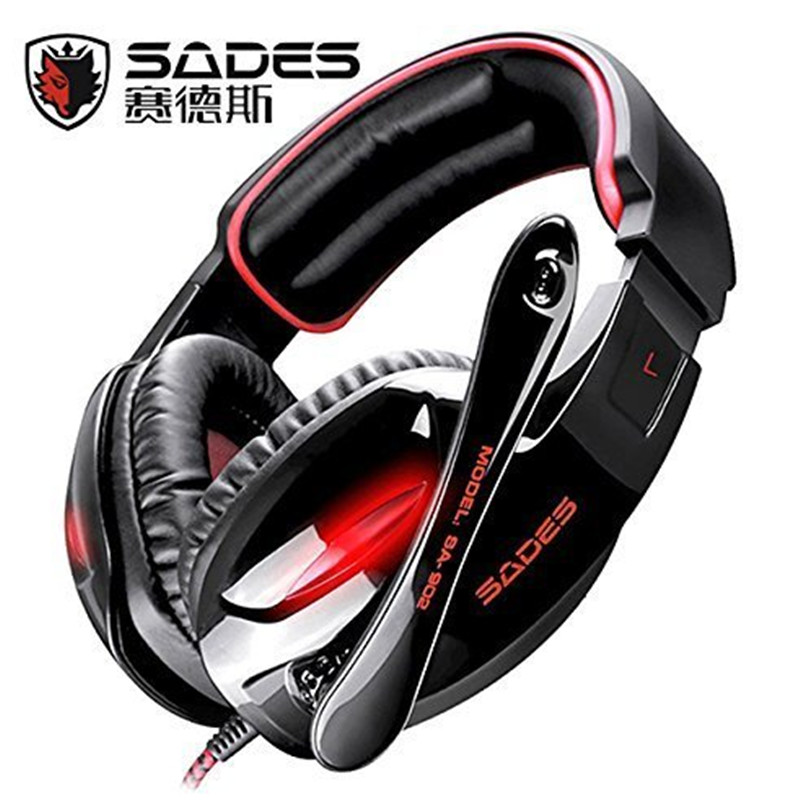 Sades SA-902 Auriculares Hifi Stereo 7.1 Surround Led Headset fone Gamer Ouvido Headband Gaming Headphone For PC Black/White<br><br>Aliexpress