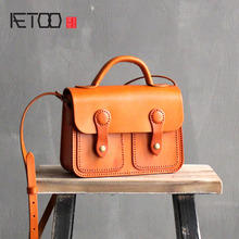 AETOO Handmade Leather Handbags College Wind Cambridge Spaghetti Tanned Leather Shoulder Bag Artistic First Layer Leather Postma(China)