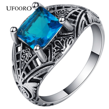 Hot sale Vintage black Ring Set women created Blue jewelry Wedding Band Engagement rings Unique design Drop shipping
