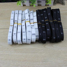 8Rolls/Lot(3600PCS) Garment Size Labels Clothing Woven Tags XS-6XL White Or Black Color 7-007
