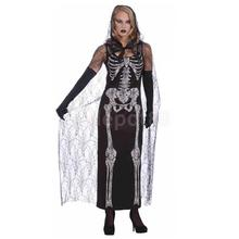 Ladies Skeleton Dress Cloak Halloween Costume Day Of The Dead Fancy Dress
