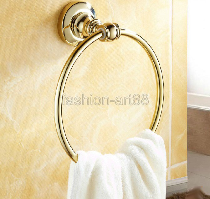 NEW Bathroom Accessory Wall Mounted Polished Gold Color Brass Towel Ring Towel Rack Holder aba104<br><br>Aliexpress