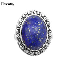 Oval Lapis Lazuli Rings Vintage Natural Stone Rings Antique Silver Plated Party Rings For Women Wedding Gift(China)