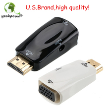 U.S.Brand high quality! HDMI Male To VGA Female Converter Box Adapter With Audio Cable For PC HDTV OE