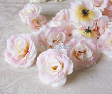"hot free shipping light pink 100 pcs 8cm/3.15"" Artificial Silk Camellia Fabric Rose Peony Flower Heads"