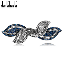 danbihuabi New Elegant Hair Pins with Rhinestone Crossed Plant for Women Hair Clips Wedding Hair Accessories for Wedding Fa004-A(China)