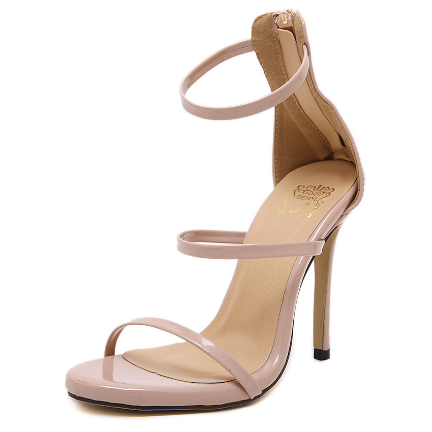 2016 New Fashion Pu Leather Cover Heel Open Toe High Heel Sandals Women Ankle Strap Sexy Summer Shoes Rome Sandalias Mujer<br><br>Aliexpress